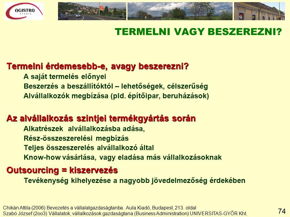 74 Chikán Attila (2006) Bevezetés a vállalatgazdaságtanba.