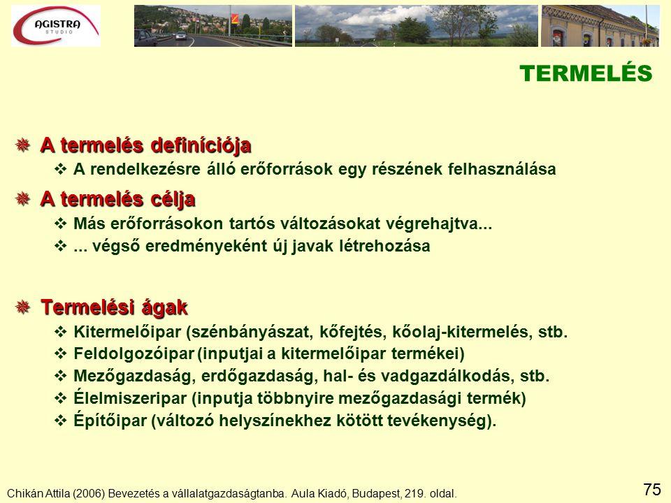 75 Chikán Attila (2006) Bevezetés a vállalatgazdaságtanba.
