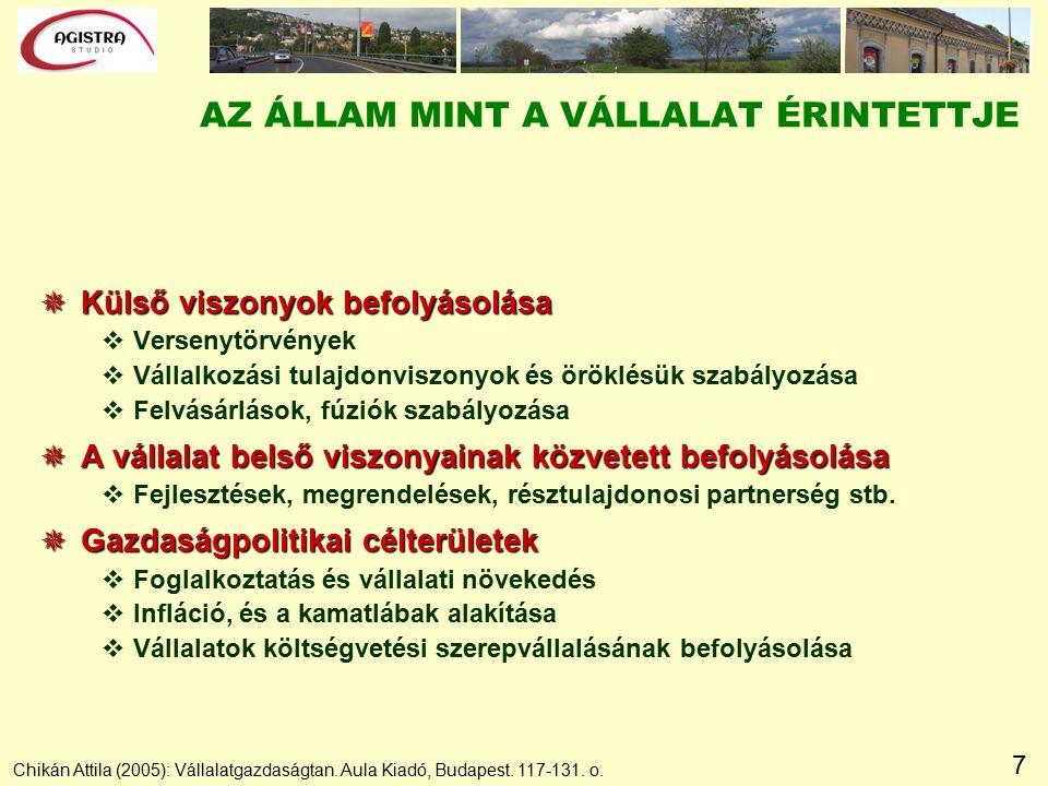 7 Chikán Attila (2005): Vállalatgazdaságtan. Aula Kiadó, Budapest.