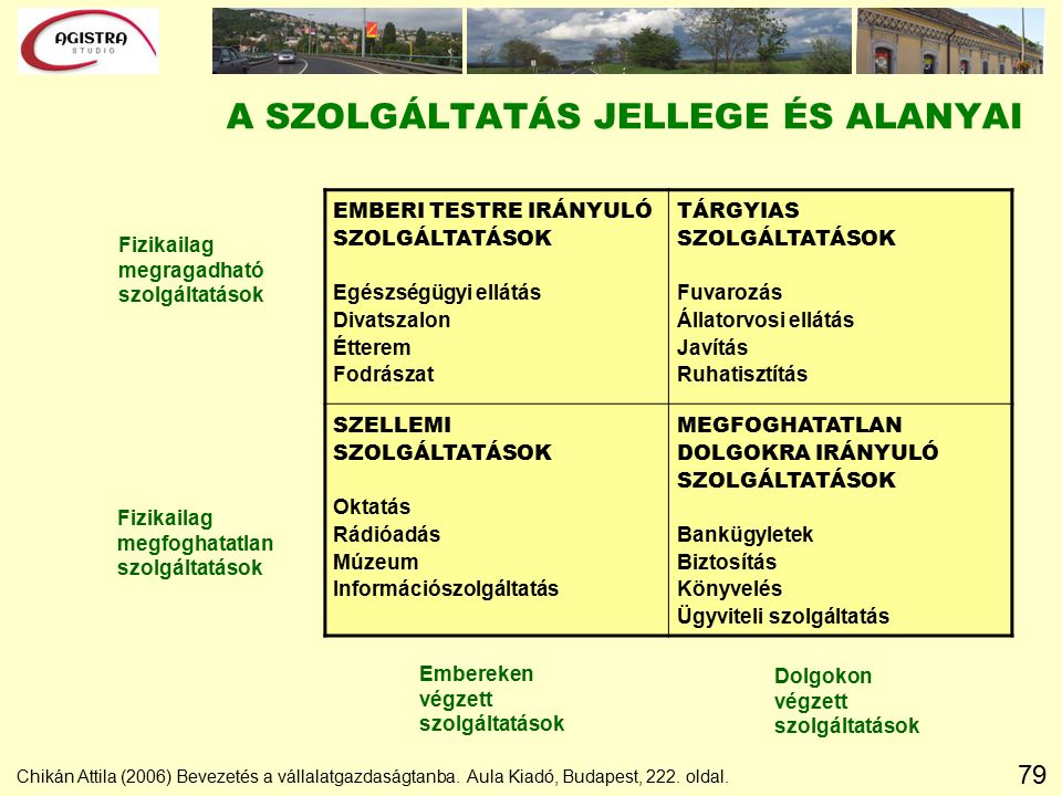 79 A SZOLGÁLTATÁS JELLEGE ÉS ALANYAI Fizikailag megfoghatatlan szolgáltatások Fizikailag megragadható szolgáltatások Chikán Attila (2006) Bevezetés a vállalatgazdaságtanba.