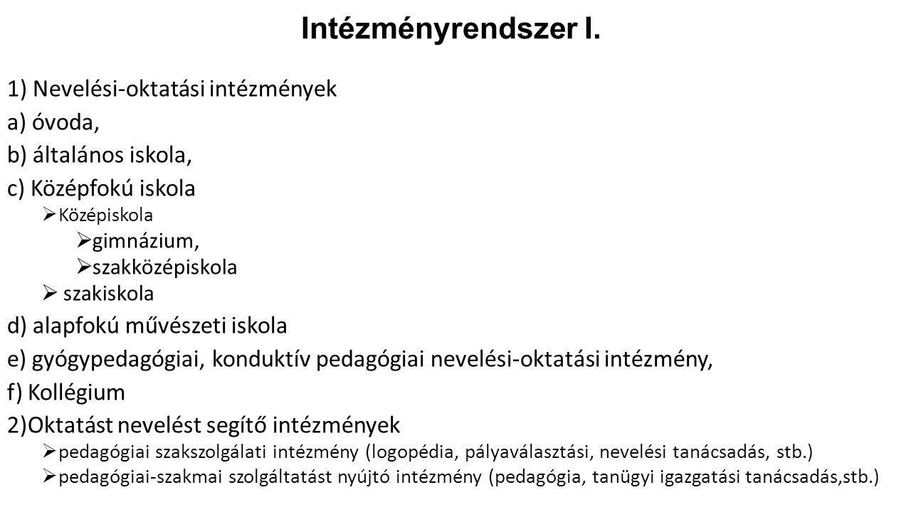 Intézményrendszer I. 1) Nevelési-oktatási intézmények a) óvoda, b) általános iskola, c) Középfokú iskola  Középiskola  gimnázium,  szakközépiskola