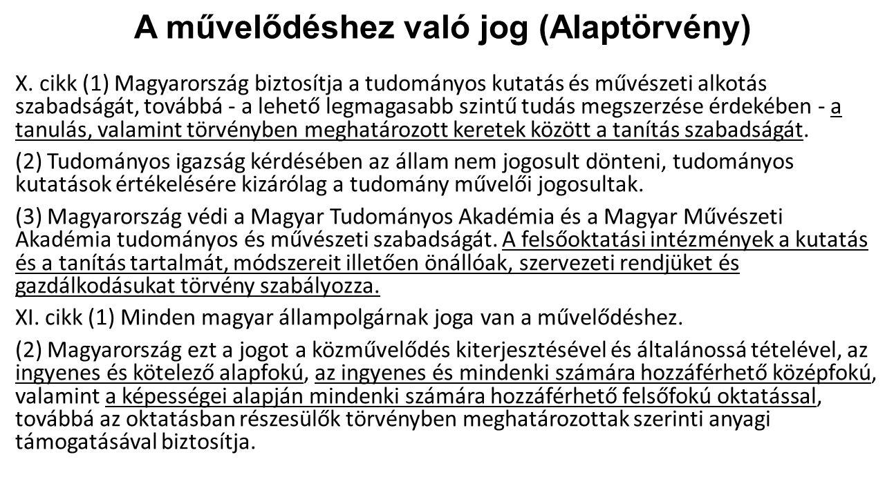 A művelődéshez való jog (Alaptörvény) X. cikk (1) Magyarország biztosítja a tudományos kutatás és művészeti alkotás szabadságát, továbbá - a lehető le