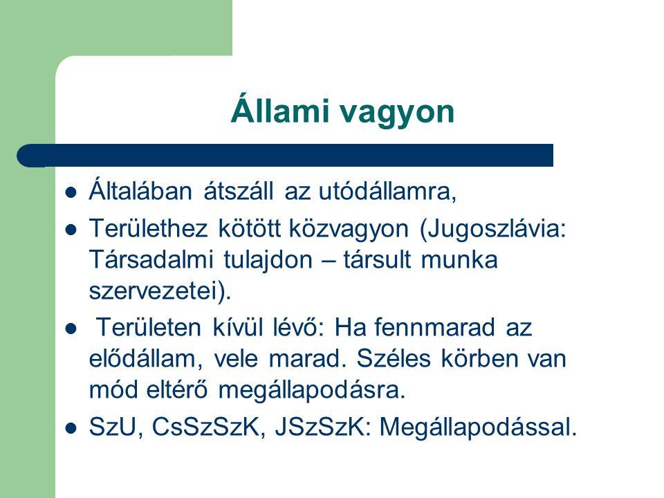 Állami vagyon Általában átszáll az utódállamra, Területhez kötött közvagyon (Jugoszlávia: Társadalmi tulajdon – társult munka szervezetei). Területen