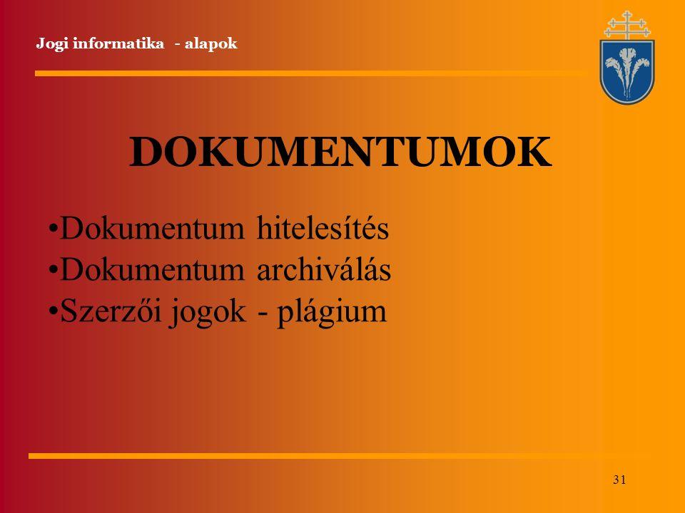 31 Jogi informatika - alapok DOKUMENTUMOK Dokumentum hitelesítés Dokumentum archiválás Szerzői jogok - plágium