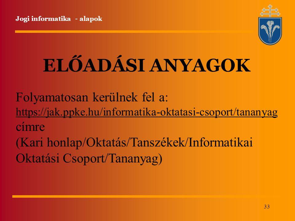 33 Jogi informatika - alapok ELŐADÁSI ANYAGOK Folyamatosan kerülnek fel a: https://jak.ppke.hu/informatika-oktatasi-csoport/tananyag https://jak.ppke.