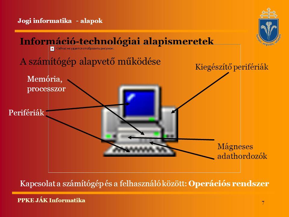 7 PPKE JÁK Informatika Információ-technológiai alapismeretek A számítógép alapvető működése Kapcsolat a számítógép és a felhasználó között: Operációs rendszer Memória, processzor Perifériák Kiegészítő perifériák Mágneses adathordozók Jogi informatika - alapok