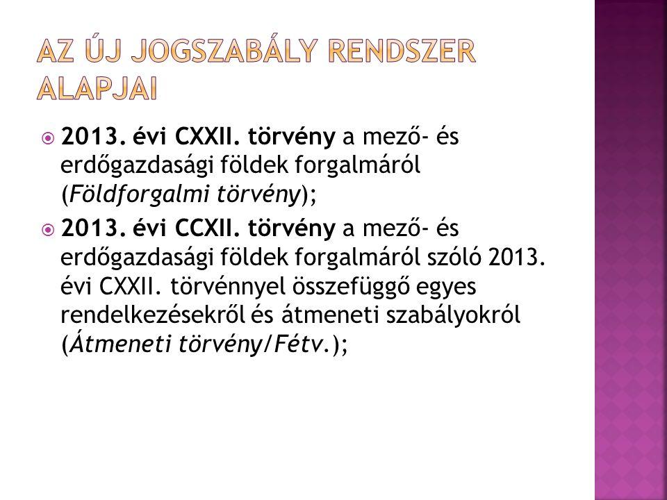  2013. évi CXXII. törvény a mező- és erdőgazdasági földek forgalmáról (Földforgalmi törvény);  2013. évi CCXII. törvény a mező- és erdőgazdasági föl