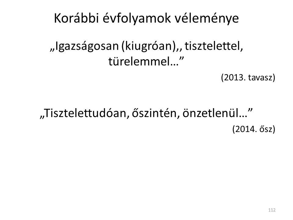 """Korábbi évfolyamok véleménye """"Igazságosan (kiugróan),, tisztelettel, türelemmel… (2013."""