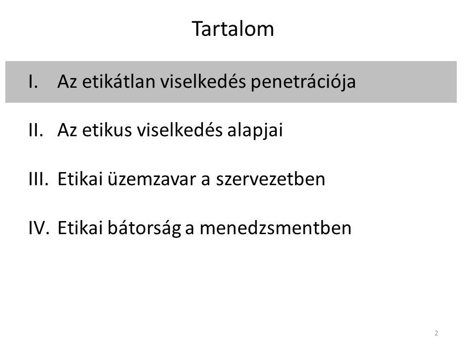 Tartalom I.Az etikátlan viselkedés penetrációja II.Az etikus viselkedés alapjai III.Etikai üzemzavar a szervezetben IV.Etikai bátorság a menedzsmentben 2