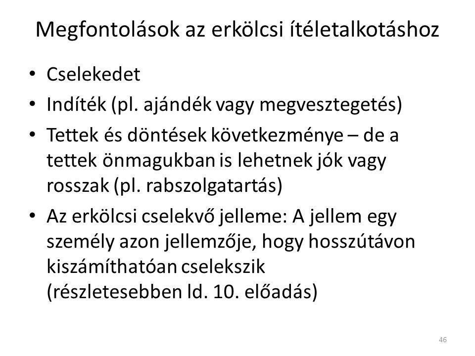 Megfontolások az erkölcsi ítéletalkotáshoz Cselekedet Indíték (pl.
