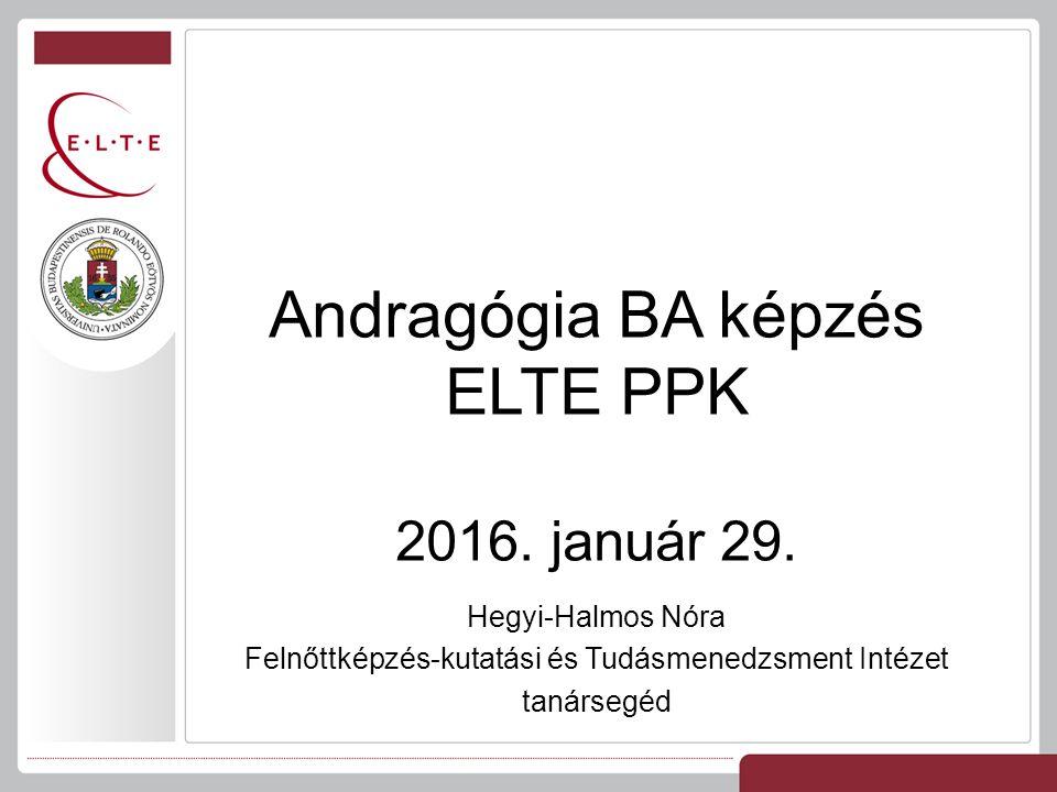 Hegyi-Halmos Nóra Felnőttképzés-kutatási és Tudásmenedzsment Intézet tanársegéd Andragógia BA képzés ELTE PPK 2016.