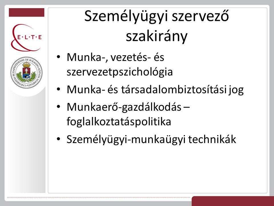 Személyügyi szervező szakirány Munka-, vezetés- és szervezetpszichológia Munka- és társadalombiztosítási jog Munkaerő-gazdálkodás – foglalkoztatáspolitika Személyügyi-munkaügyi technikák