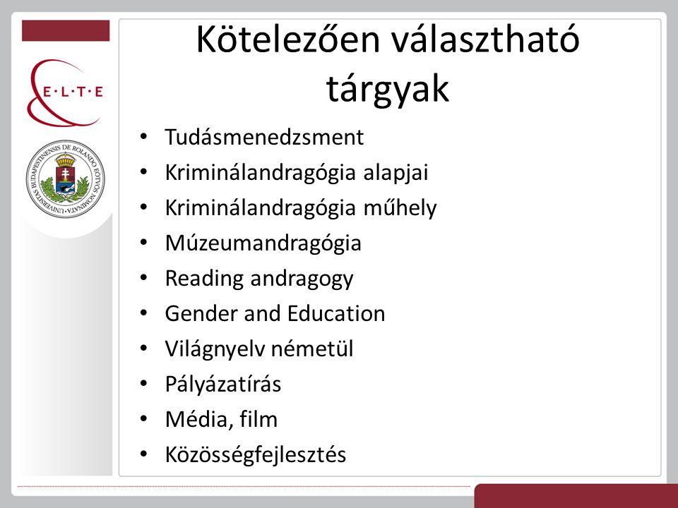 Kötelezően választható tárgyak Tudásmenedzsment Kriminálandragógia alapjai Kriminálandragógia műhely Múzeumandragógia Reading andragogy Gender and Education Világnyelv németül Pályázatírás Média, film Közösségfejlesztés