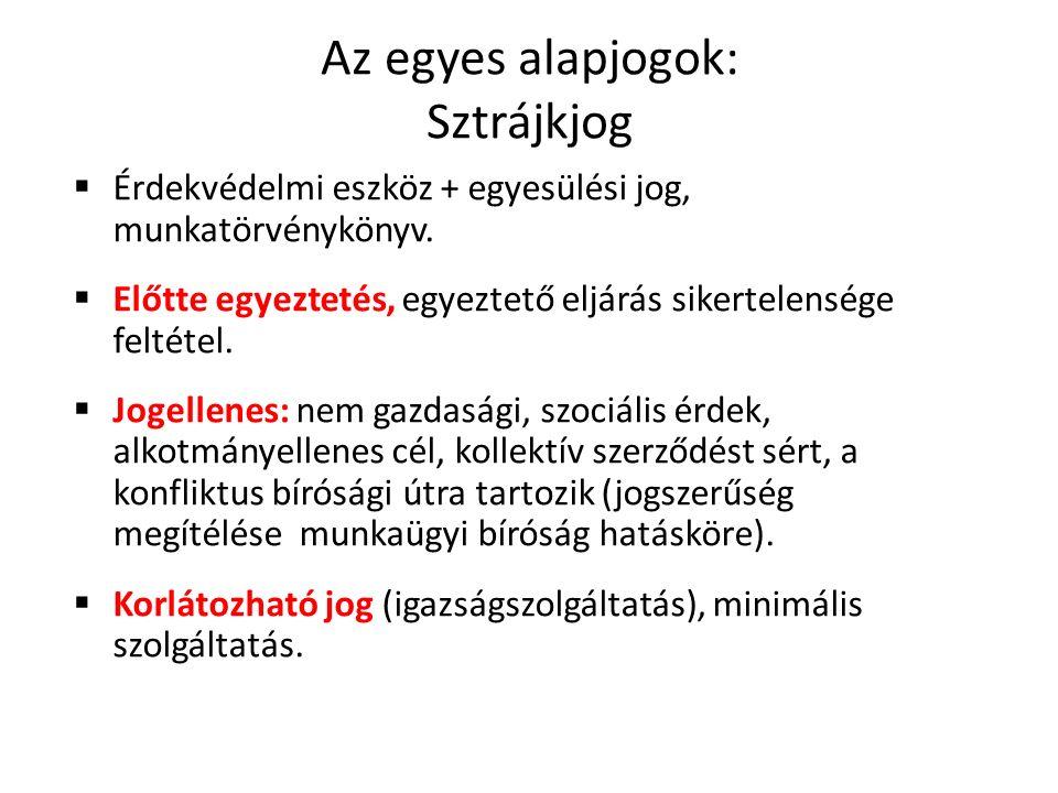 Az egyes alapjogok: Sztrájkjog  Érdekvédelmi eszköz + egyesülési jog, munkatörvénykönyv.