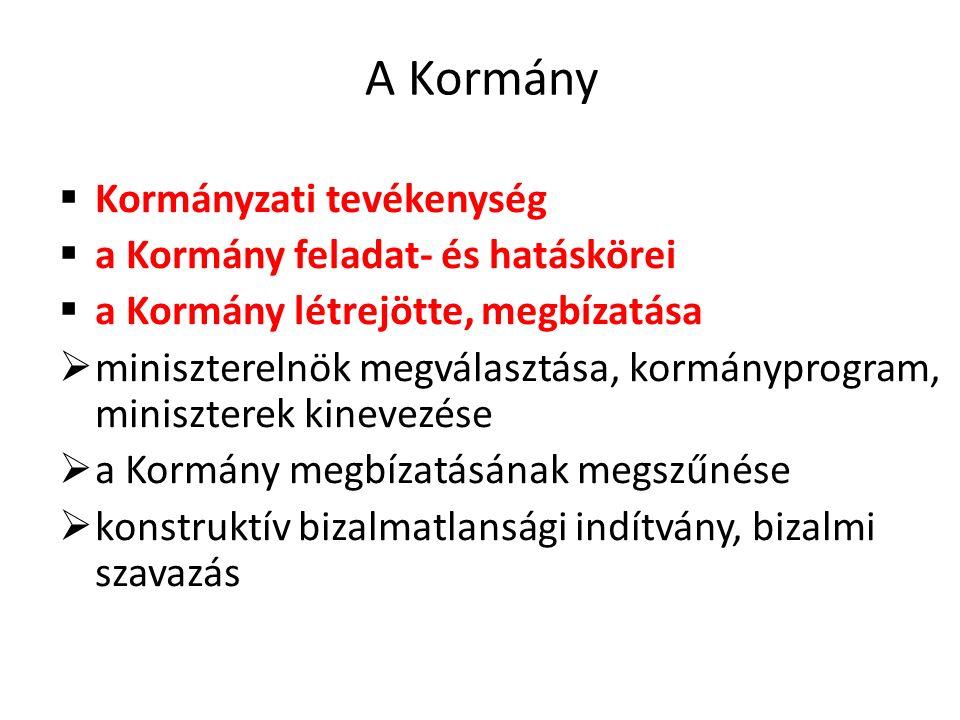 A Kormány  Kormányzati tevékenység  a Kormány feladat- és hatáskörei  a Kormány létrejötte, megbízatása  miniszterelnök megválasztása, kormányprogram, miniszterek kinevezése  a Kormány megbízatásának megszűnése  konstruktív bizalmatlansági indítvány, bizalmi szavazás