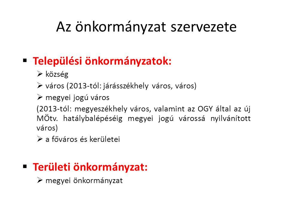 Az önkormányzat szervezete  Települési önkormányzatok:  község  város (2013-tól: járásszékhely város, város)  megyei jogú város (2013-tól: megyeszékhely város, valamint az OGY által az új MÖtv.
