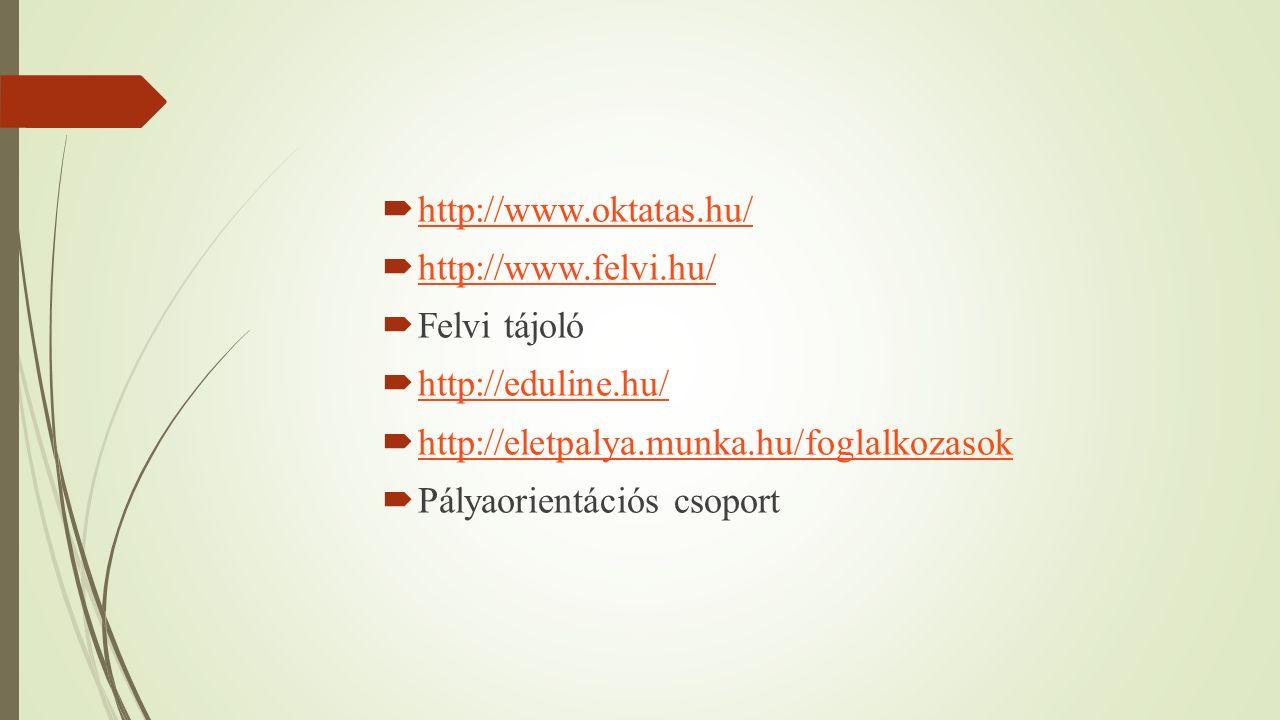  http://www.oktatas.hu/ http://www.oktatas.hu/  http://www.felvi.hu/ http://www.felvi.hu/  Felvi tájoló  http://eduline.hu/ http://eduline.hu/  http://eletpalya.munka.hu/foglalkozasok http://eletpalya.munka.hu/foglalkozasok  Pályaorientációs csoport