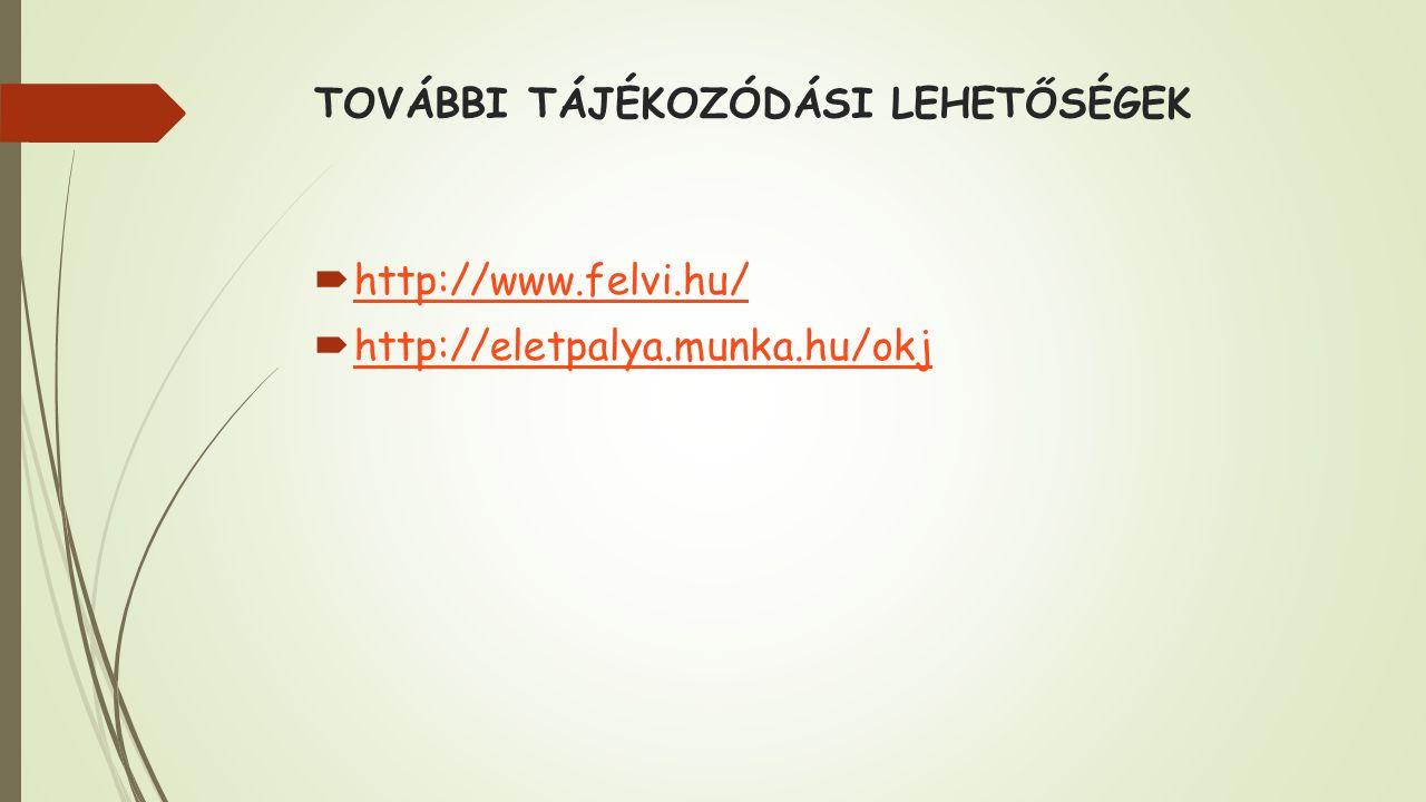 TOVÁBBI TÁJÉKOZÓDÁSI LEHETŐSÉGEK  http://www.felvi.hu/ http://www.felvi.hu/  http://eletpalya.munka.hu/okj http://eletpalya.munka.hu/okj