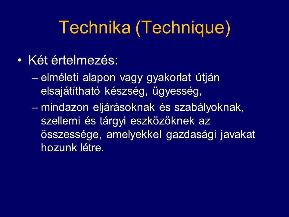Technika (Technique) Két értelmezés: –elméleti alapon vagy gyakorlat útján elsajátítható készség, ügyesség, –mindazon eljárásoknak és szabályoknak, szellemi és tárgyi eszközöknek az összessége, amelyekkel gazdasági javakat hozunk létre.