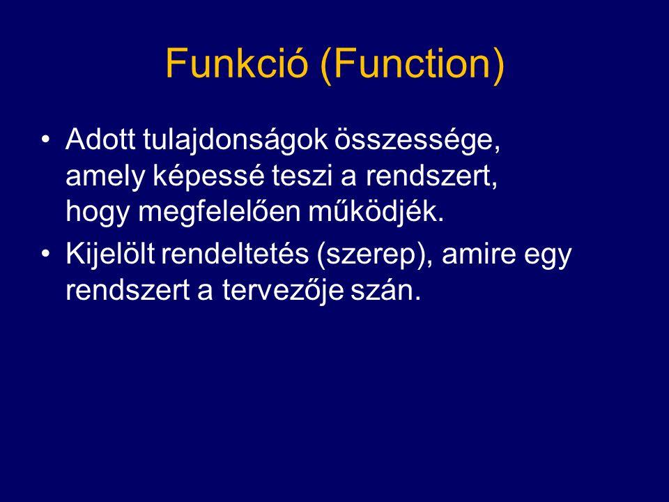 Funkció (Function) Adott tulajdonságok összessége, amely képessé teszi a rendszert, hogy megfelelően működjék.