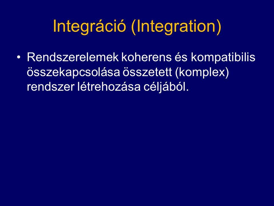 Integráció (Integration) Rendszerelemek koherens és kompatibilis összekapcsolása összetett (komplex) rendszer létrehozása céljából.