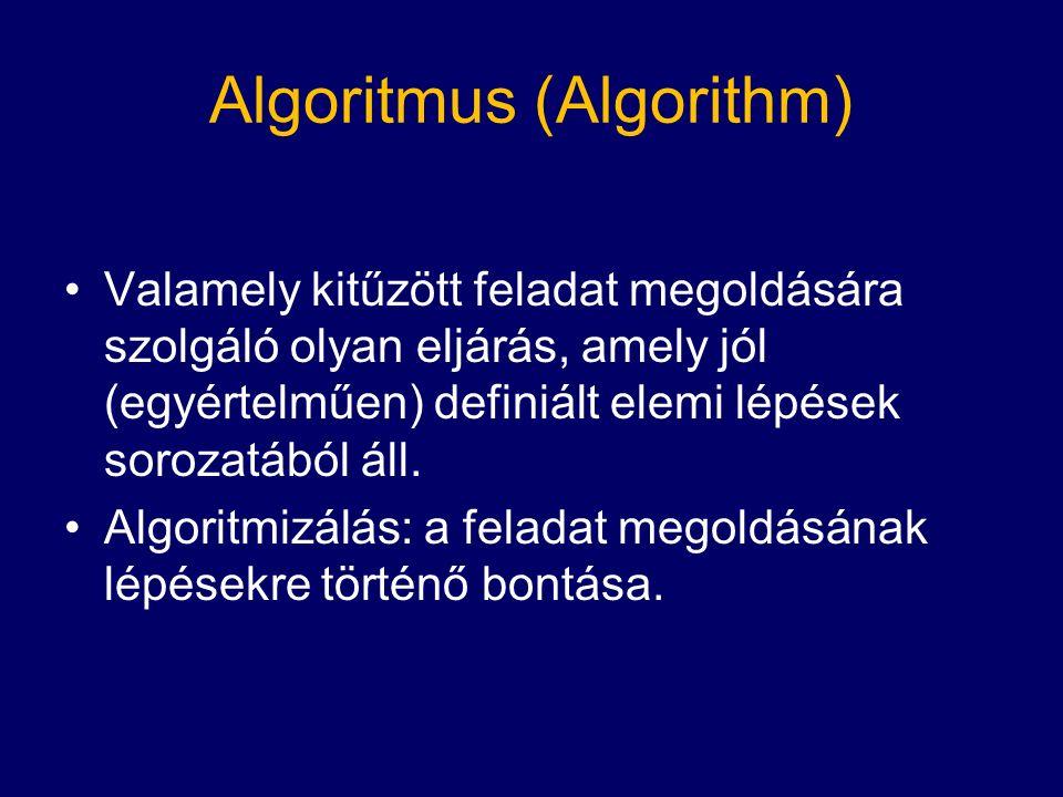 Algoritmus (Algorithm) Valamely kitűzött feladat megoldására szolgáló olyan eljárás, amely jól (egyértelműen) definiált elemi lépések sorozatából áll.