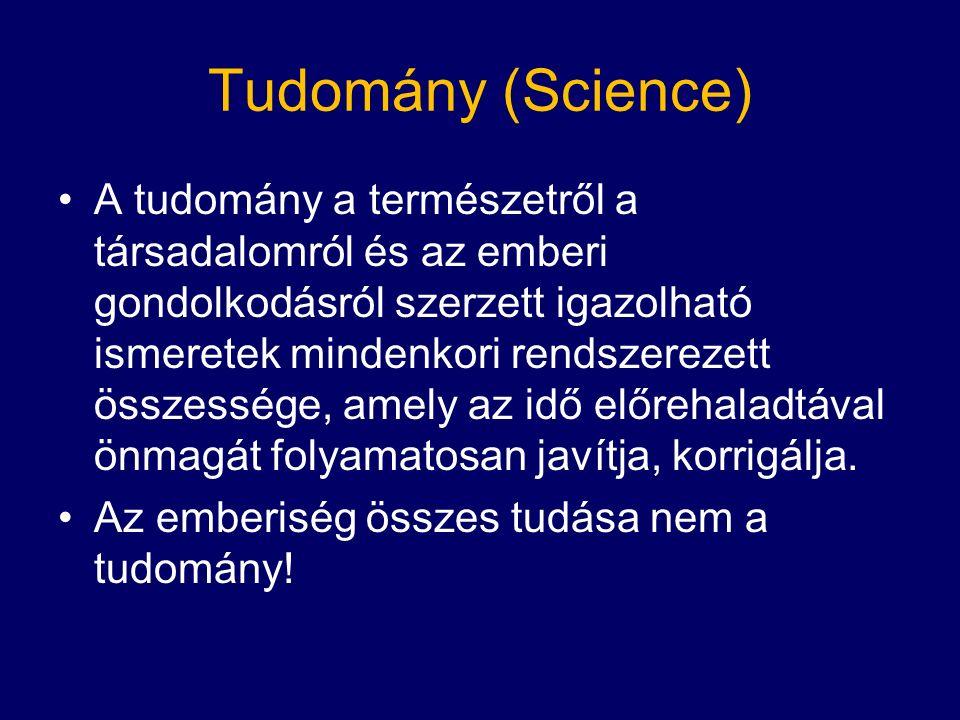 Tudomány (Science) A tudomány a természetről a társadalomról és az emberi gondolkodásról szerzett igazolható ismeretek mindenkori rendszerezett összessége, amely az idő előrehaladtával önmagát folyamatosan javítja, korrigálja.