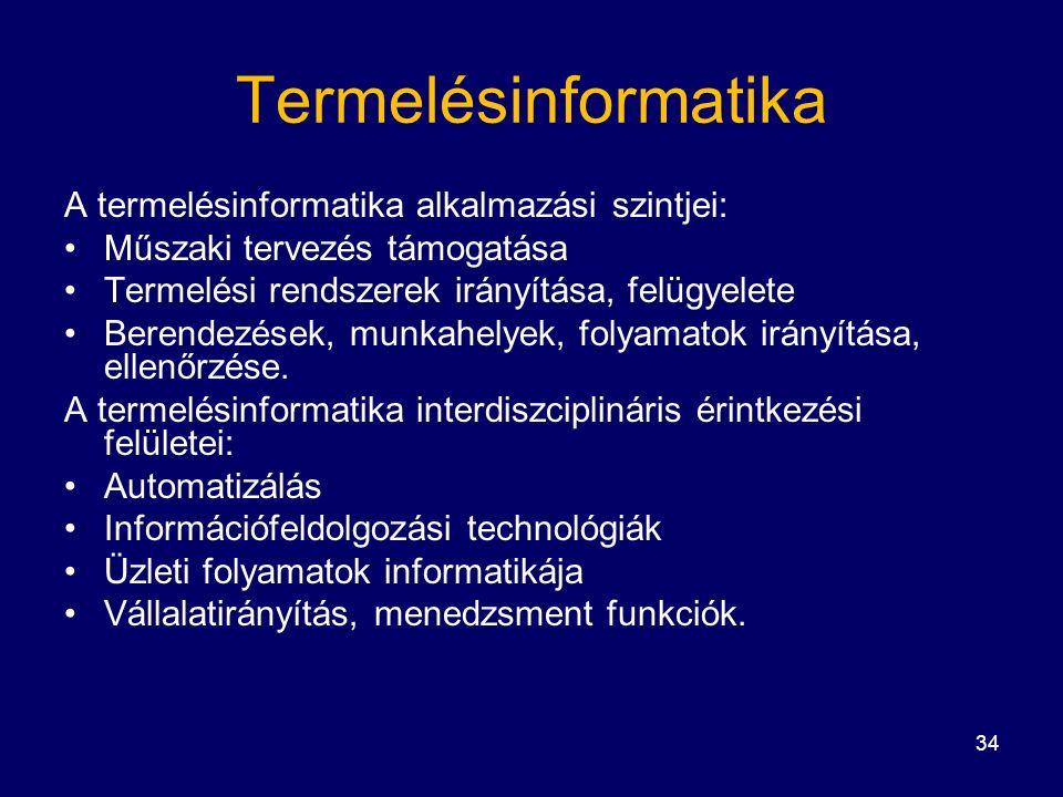 34 Termelésinformatika A termelésinformatika alkalmazási szintjei: Műszaki tervezés támogatása Termelési rendszerek irányítása, felügyelete Berendezések, munkahelyek, folyamatok irányítása, ellenőrzése.