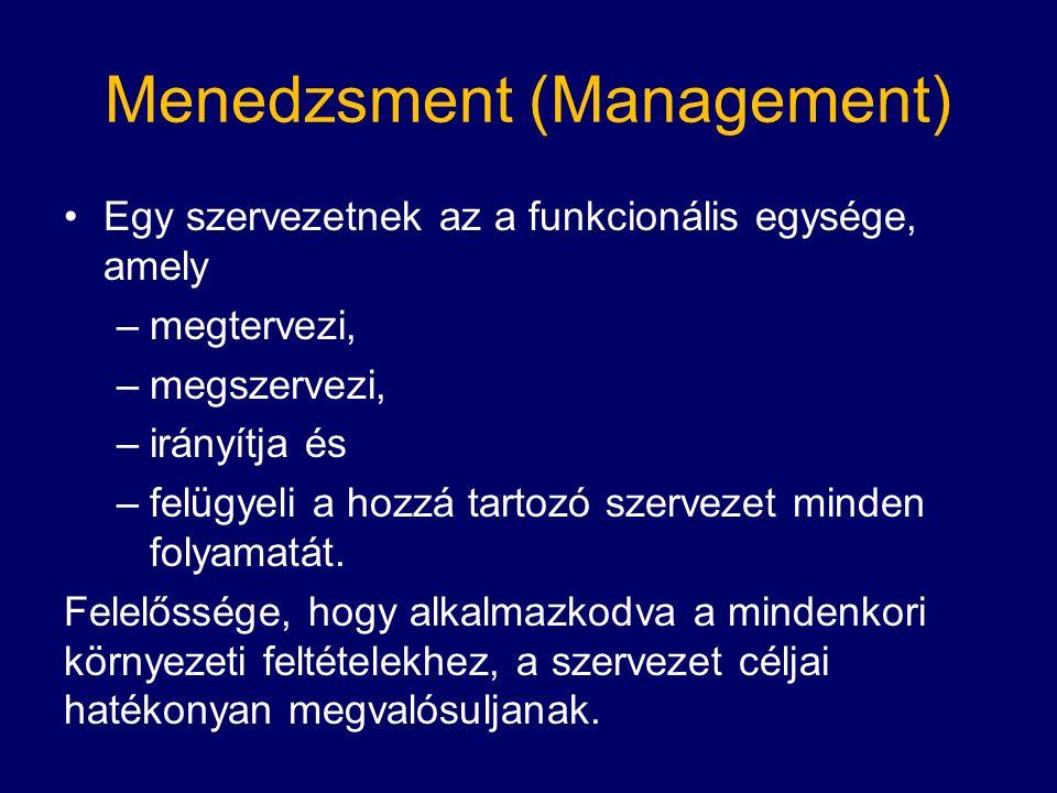 Menedzsment (Management) Egy szervezetnek az a funkcionális egysége, amely –megtervezi, –megszervezi, –irányítja és –felügyeli a hozzá tartozó szervezet minden folyamatát.