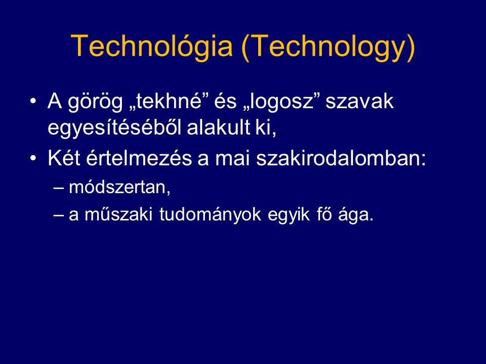 """Technológia (Technology) A görög """"tekhné és """"logosz szavak egyesítéséből alakult ki, Két értelmezés a mai szakirodalomban: –módszertan, –a műszaki tudományok egyik fő ága."""