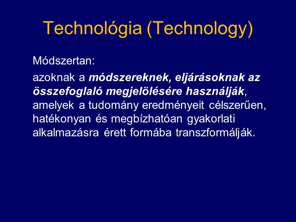 Technológia (Technology) Módszertan: azoknak a módszereknek, eljárásoknak az összefoglaló megjelölésére használják, amelyek a tudomány eredményeit célszerűen, hatékonyan és megbízhatóan gyakorlati alkalmazásra érett formába transzformálják.