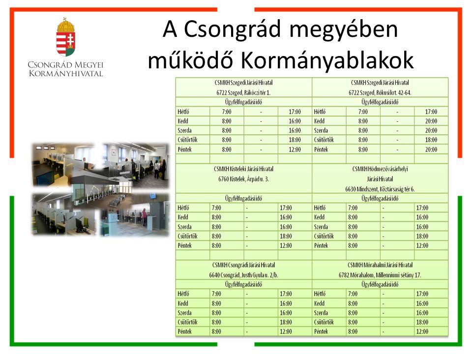 A Csongrád megyében működő Kormányablakok