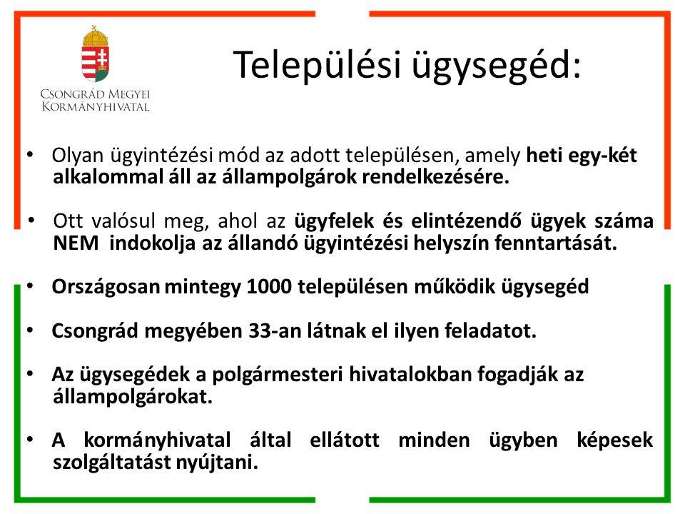 Települési ügysegéd: Olyan ügyintézési mód az adott településen, amely heti egy-két alkalommal áll az állampolgárok rendelkezésére.
