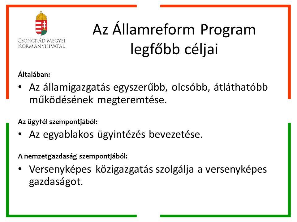 Az Államreform Program legfőbb céljai Általában: Az államigazgatás egyszerűbb, olcsóbb, átláthatóbb működésének megteremtése.