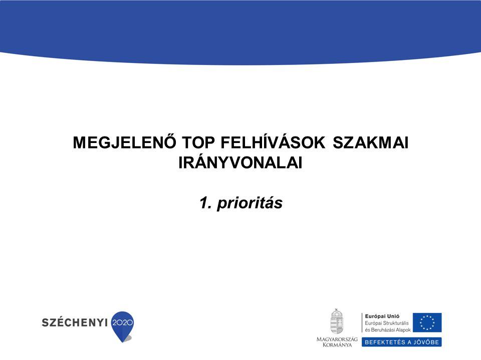 MEGJELENŐ TOP FELHÍVÁSOK SZAKMAI IRÁNYVONALAI 1. prioritás
