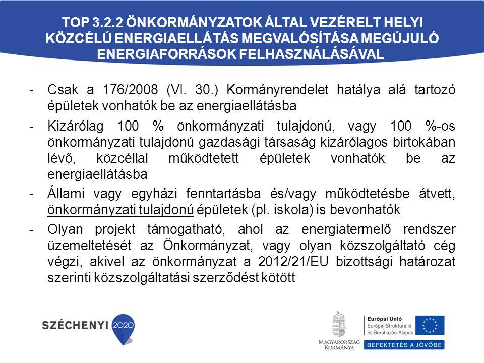 TOP 3.2.2 ÖNKORMÁNYZATOK ÁLTAL VEZÉRELT HELYI KÖZCÉLÚ ENERGIAELLÁTÁS MEGVALÓSÍTÁSA MEGÚJULÓ ENERGIAFORRÁSOK FELHASZNÁLÁSÁVAL -Csak a 176/2008 (VI.
