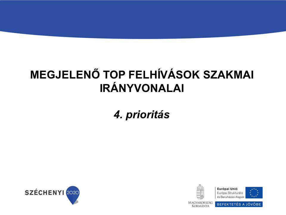MEGJELENŐ TOP FELHÍVÁSOK SZAKMAI IRÁNYVONALAI 4. prioritás