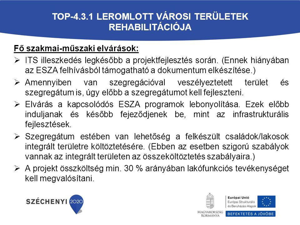 TOP-4.3.1 LEROMLOTT VÁROSI TERÜLETEK REHABILITÁCIÓJA Fő szakmai-műszaki elvárások:  ITS illeszkedés legkésőbb a projektfejlesztés során.