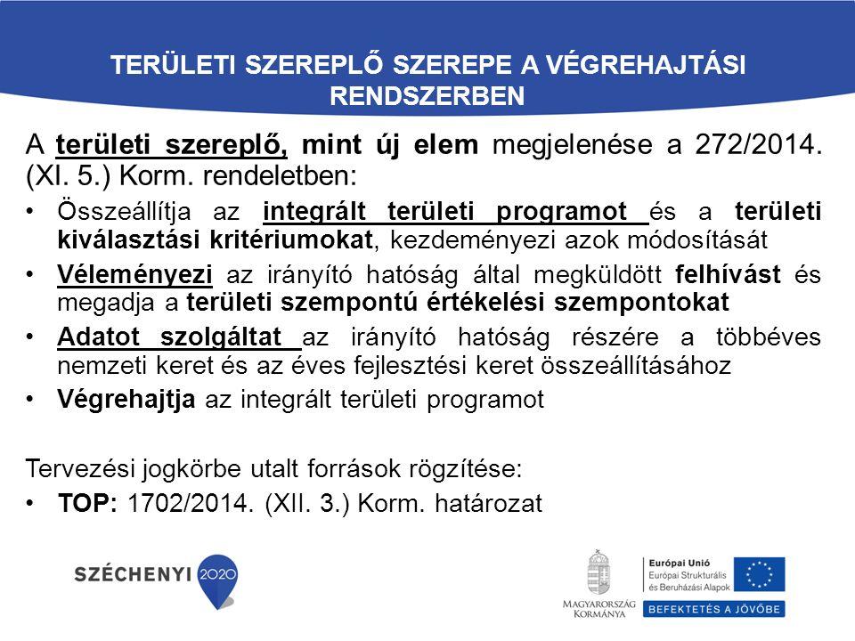 TERÜLETI SZEREPLŐ SZEREPE A VÉGREHAJTÁSI RENDSZERBEN A területi szereplő, mint új elem megjelenése a 272/2014.