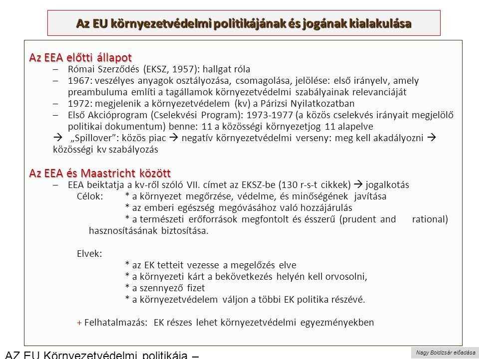 """Nagy Boldizsár előadása Az EU környezetvédelmi politikájának és jogának kialakulása Az EEA előtti állapot –Római Szerződés (EKSZ, 1957): hallgat róla –1967: veszélyes anyagok osztályozása, csomagolása, jelölése: első irányelv, amely preambuluma említi a tagállamok környezetvédelmi szabályainak relevanciáját –1972: megjelenik a környezetvédelem (kv) a Párizsi Nyilatkozatban –Első Akcióprogram (Cselekvési Program): 1973-1977 (a közös cselekvés irányait megjelölő politikai dokumentum) benne: 11 a közösségi környezetjog 11 alapelve  """"Spillover : közös piac  negatív környezetvédelmi verseny: meg kell akadályozni  közösségi kv szabályozás Az EEA és Maastricht között –EEA beiktatja a kv-ről szóló VII."""