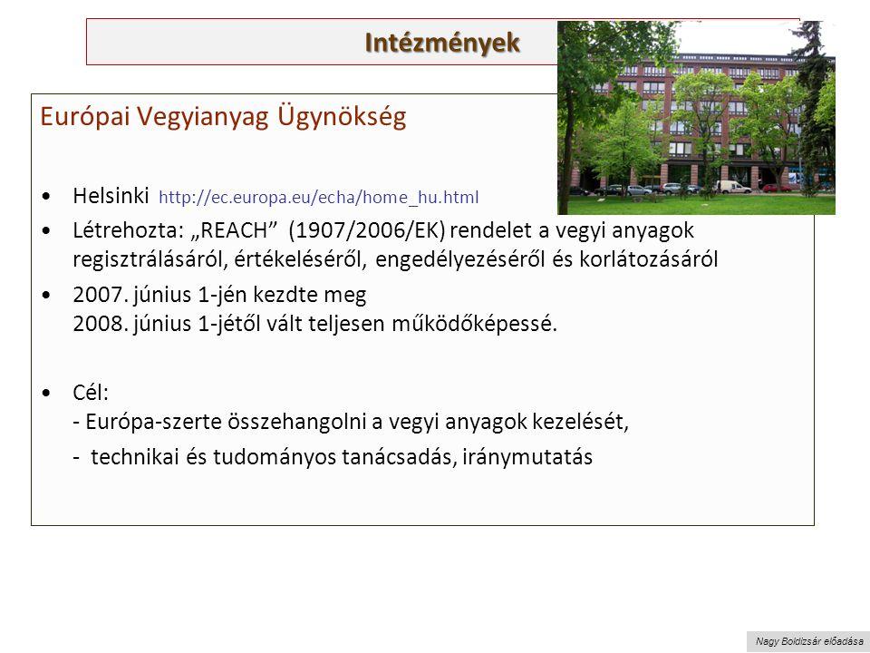 """Nagy Boldizsár előadása Intézmények Európai Vegyianyag Ügynökség Helsinki http://ec.europa.eu/echa/home_hu.html Létrehozta: """"REACH (1907/2006/EK) rendelet a vegyi anyagok regisztrálásáról, értékeléséről, engedélyezéséről és korlátozásáról 2007."""