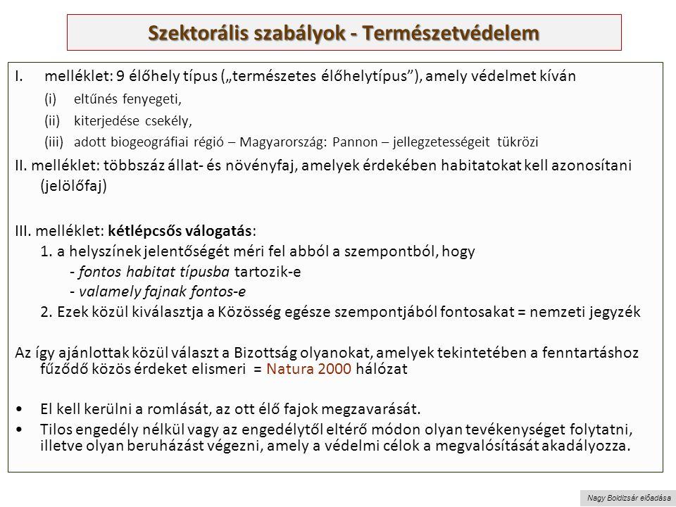 """Nagy Boldizsár előadása Szektorális szabályok - Természetvédelem I.melléklet: 9 élőhely típus (""""természetes élőhelytípus ), amely védelmet kíván (i)eltűnés fenyegeti, (ii)kiterjedése csekély, (iii)adott biogeográfiai régió – Magyarország: Pannon – jellegzetességeit tükrözi II."""