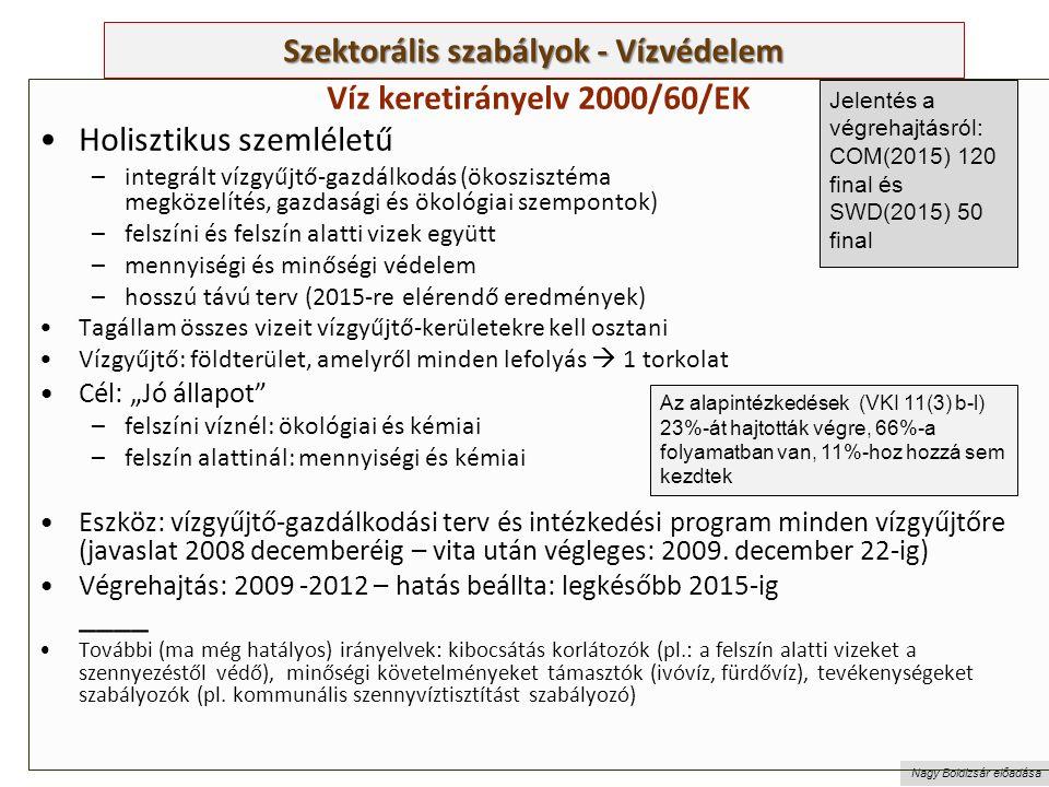 """Nagy Boldizsár előadása Szektorális szabályok - Vízvédelem Víz keretirányelv 2000/60/EK Holisztikus szemléletű –integrált vízgyűjtő-gazdálkodás (ökoszisztéma megközelítés, gazdasági és ökológiai szempontok) –felszíni és felszín alatti vizek együtt –mennyiségi és minőségi védelem –hosszú távú terv (2015-re elérendő eredmények) Tagállam összes vizeit vízgyűjtő-kerületekre kell osztani Vízgyűjtő: földterület, amelyről minden lefolyás  1 torkolat Cél: """"Jó állapot –felszíni víznél: ökológiai és kémiai –felszín alattinál: mennyiségi és kémiai Eszköz: vízgyűjtő-gazdálkodási terv és intézkedési program minden vízgyűjtőre (javaslat 2008 decemberéig – vita után végleges: 2009."""