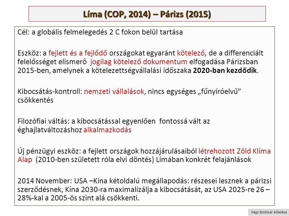 Nagy Boldizsár előadása Líma (COP, 2014) – Párizs (2015) Cél: a globális felmelegedés 2 C fokon belül tartása Eszköz: a fejlett és a fejlődő országokat egyaránt kötelező, de a differenciált felelősséget elismerő jogilag kötelező dokumentum elfogadása Párizsban 2015-ben, amelynek a kötelezettségvállalási időszaka 2020-ban kezdődik.