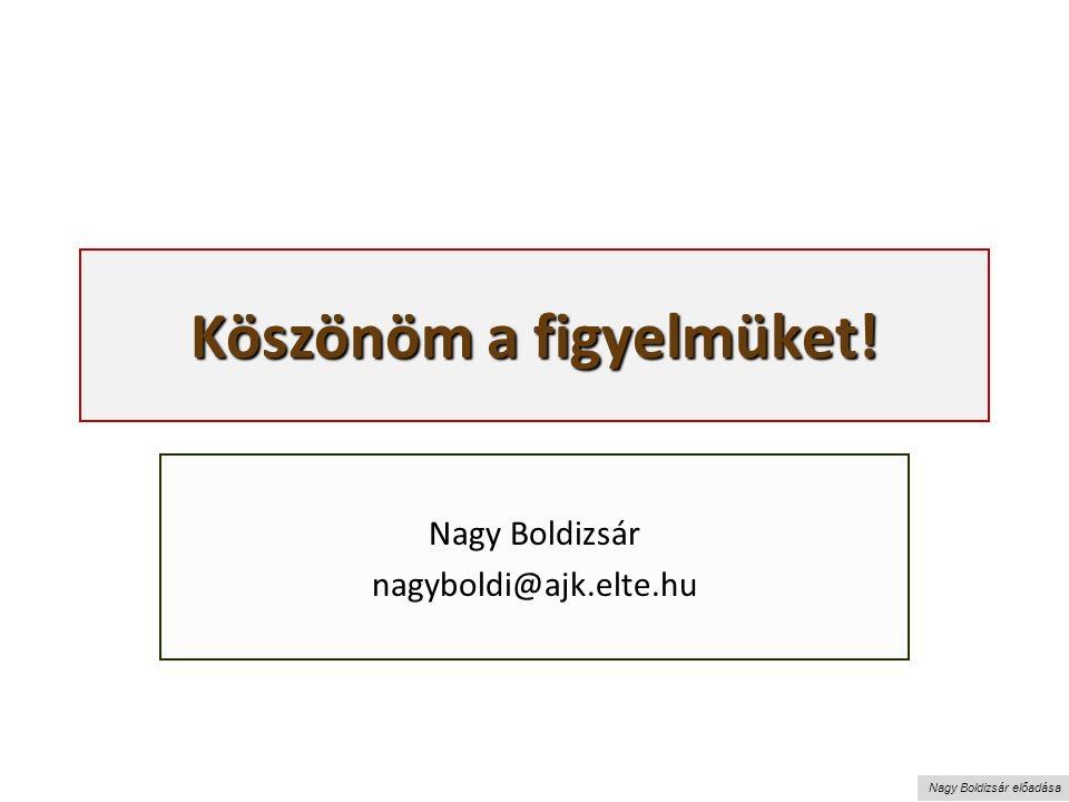 Nagy Boldizsár előadása Köszönöm a figyelmüket! Nagy Boldizsár nagyboldi@ajk.elte.hu