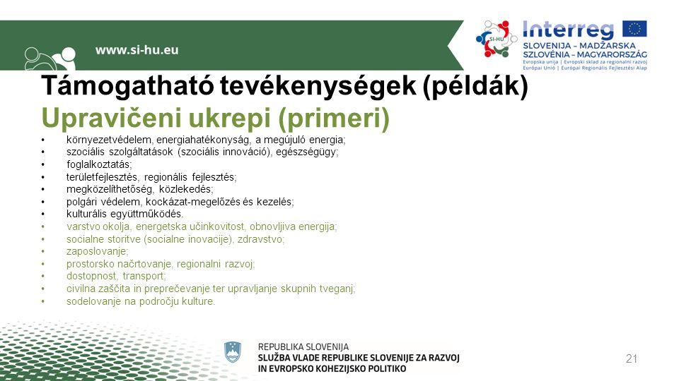 Támogatható tevékenységek (példák) Upravičeni ukrepi (primeri) környezetvédelem, energiahatékonyság, a megújuló energia; szociális szolgáltatások (szociális innováció), egészségügy; foglalkoztatás; területfejlesztés, regionális fejlesztés; megközelíthetőség, közlekedés; polgári védelem, kockázat-megelőzés és kezelés; kulturális együttműködés.