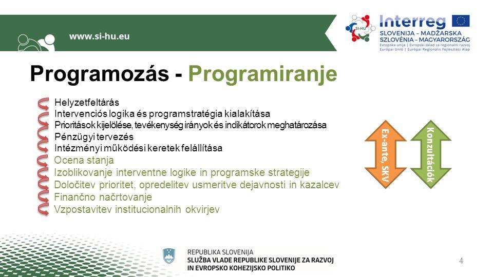 Programozás - Programiranje Helyzetfeltárás Intervenciós logika és programstratégia kialakítása Prioritások kijelölése, tevékenység irányok és indikátorok meghatározása Pénzügyi tervezés Intézményi működési keretek felállítása Ocena stanja Izoblikovanje interventne logike in programske strategije Določitev prioritet, opredelitev usmeritve dejavnosti in kazalcev Finančno načrtovanje Vzpostavitev institucionalnih okvirjev 4 Ex-ante, SKV Konzultációk