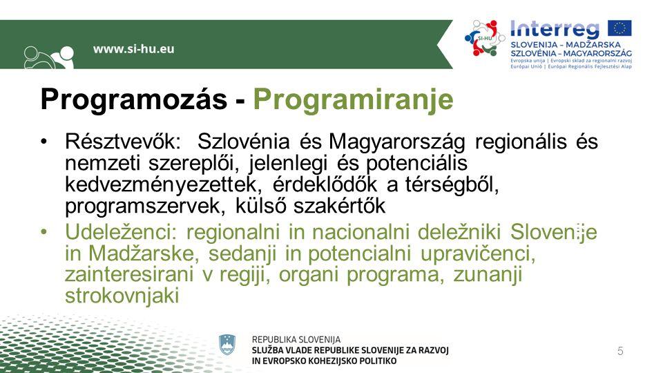 Programozás - Programiranje Résztvevők: Szlovénia és Magyarország regionális és nemzeti szereplői, jelenlegi és potenciális kedvezményezettek, érdeklődők a térségből, programszervek, külső szakértők Udeleženci: regionalni in nacionalni deležniki Slovenije in Madžarske, sedanji in potencialni upravičenci, zainteresirani v regiji, organi programa, zunanji strokovnjaki 5 Kozultációk