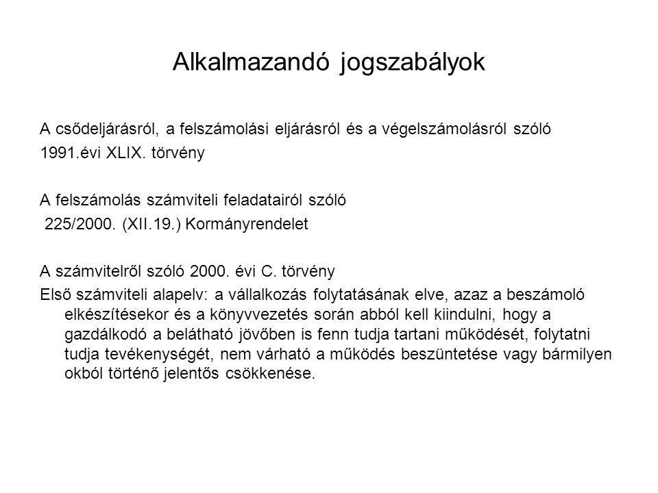 Alkalmazandó jogszabályok A csődeljárásról, a felszámolási eljárásról és a végelszámolásról szóló 1991.évi XLIX.