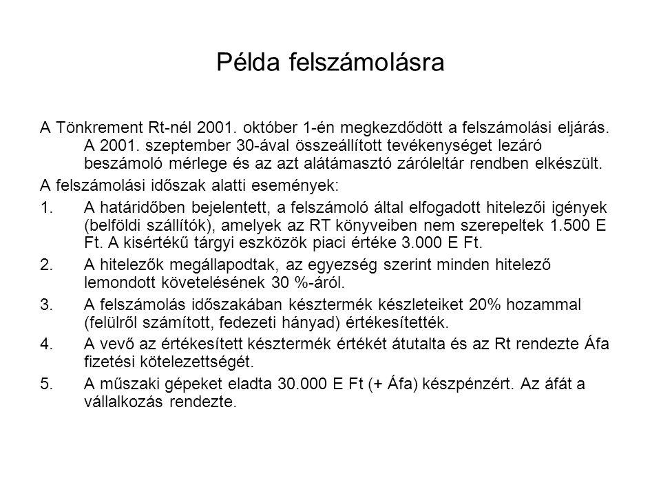 Példa felszámolásra A Tönkrement Rt-nél 2001. október 1-én megkezdődött a felszámolási eljárás. A 2001. szeptember 30-ával összeállított tevékenységet
